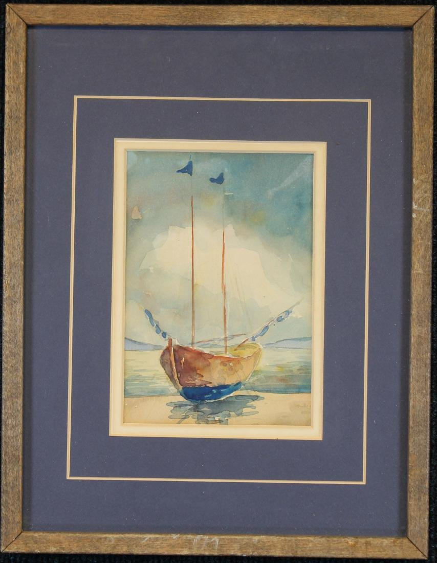 American School Watercolor of a Sailboat