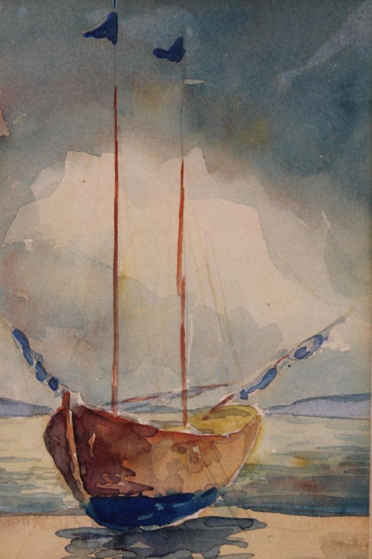 American School Watercolor of a Sailboat - 2