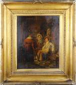 19th C. Interior Scene w/ Figures, Signed
