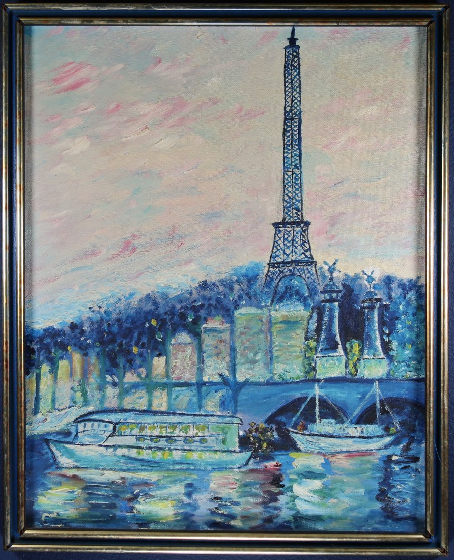 20th C. Painting of Eiffel Tower from the Seine