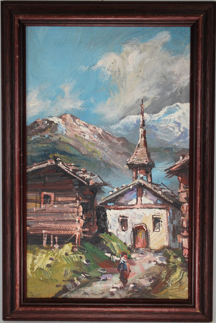 European School, Village in Alpine Landscape