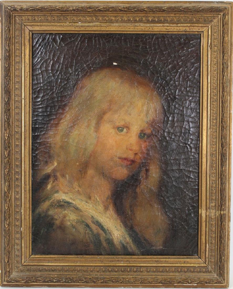 American School Antique Painting of Blue Eyed Girl