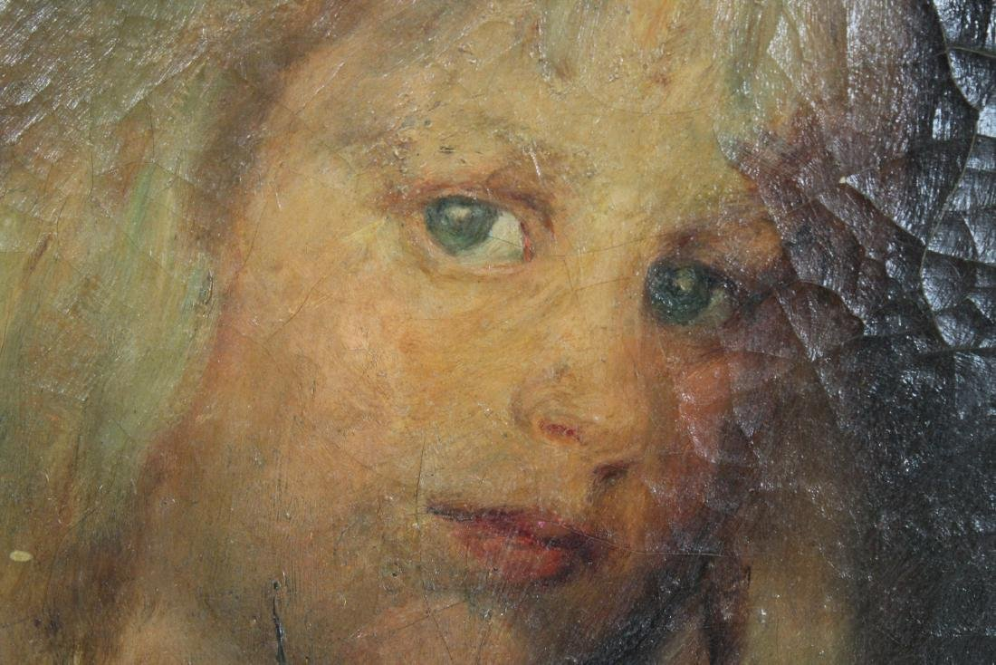 American School Antique Painting of Blue Eyed Girl - 2