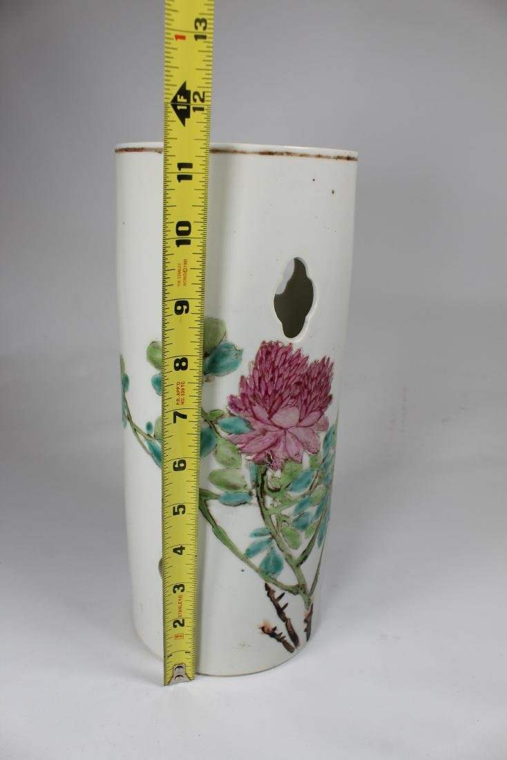 Antique Chinese Porcelain Hat Stand, Signed - 4