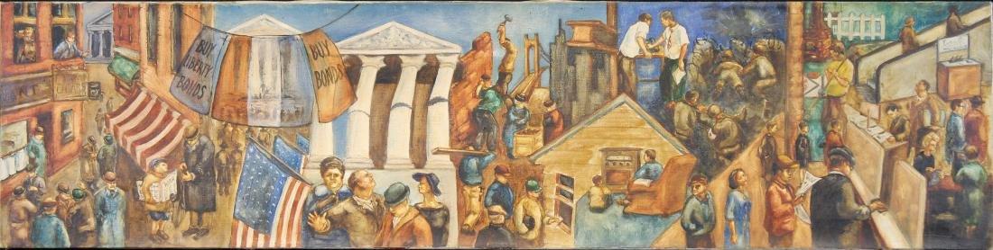 American School, WPA Style WWI Mural Painting