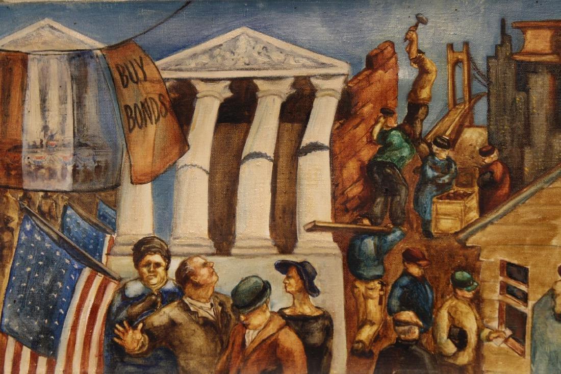 American School, WPA Style WWI Mural Painting - 3