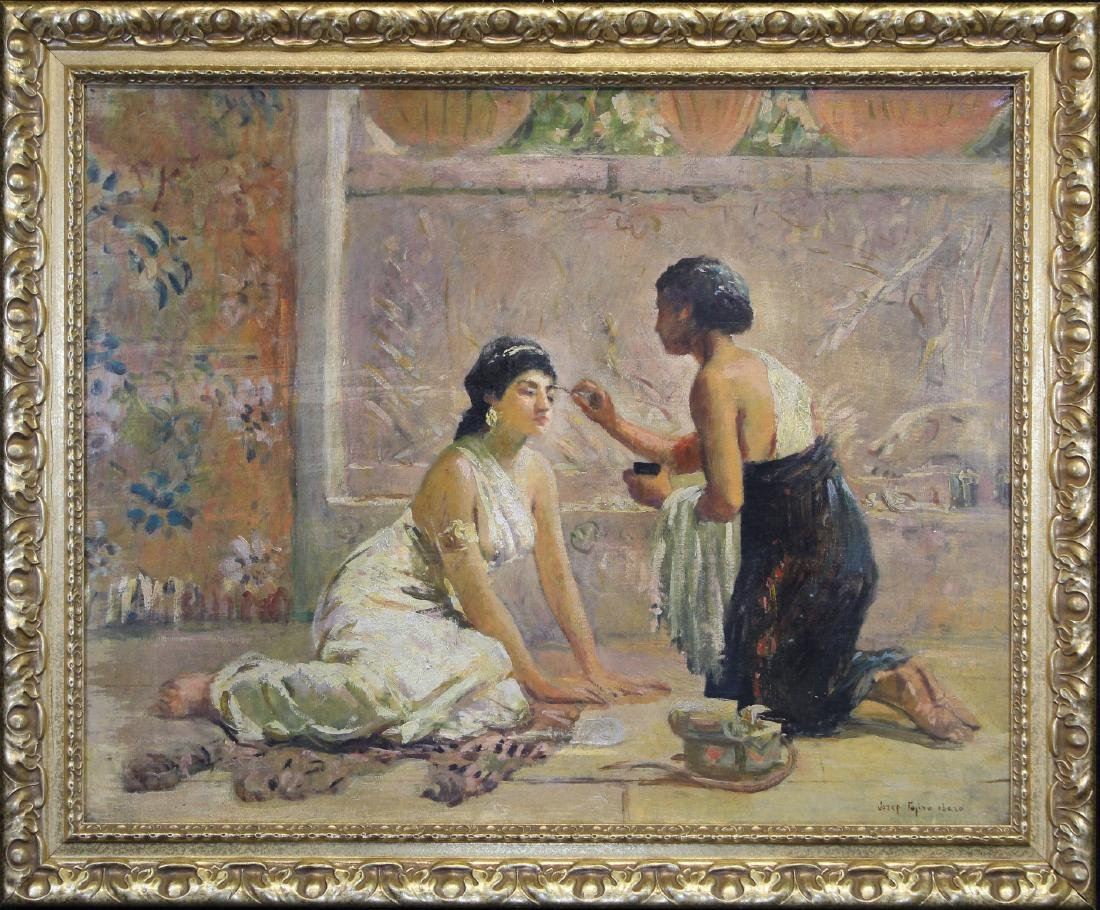 """Il Trucco"", Signed 19th C. Painting of Two Women"