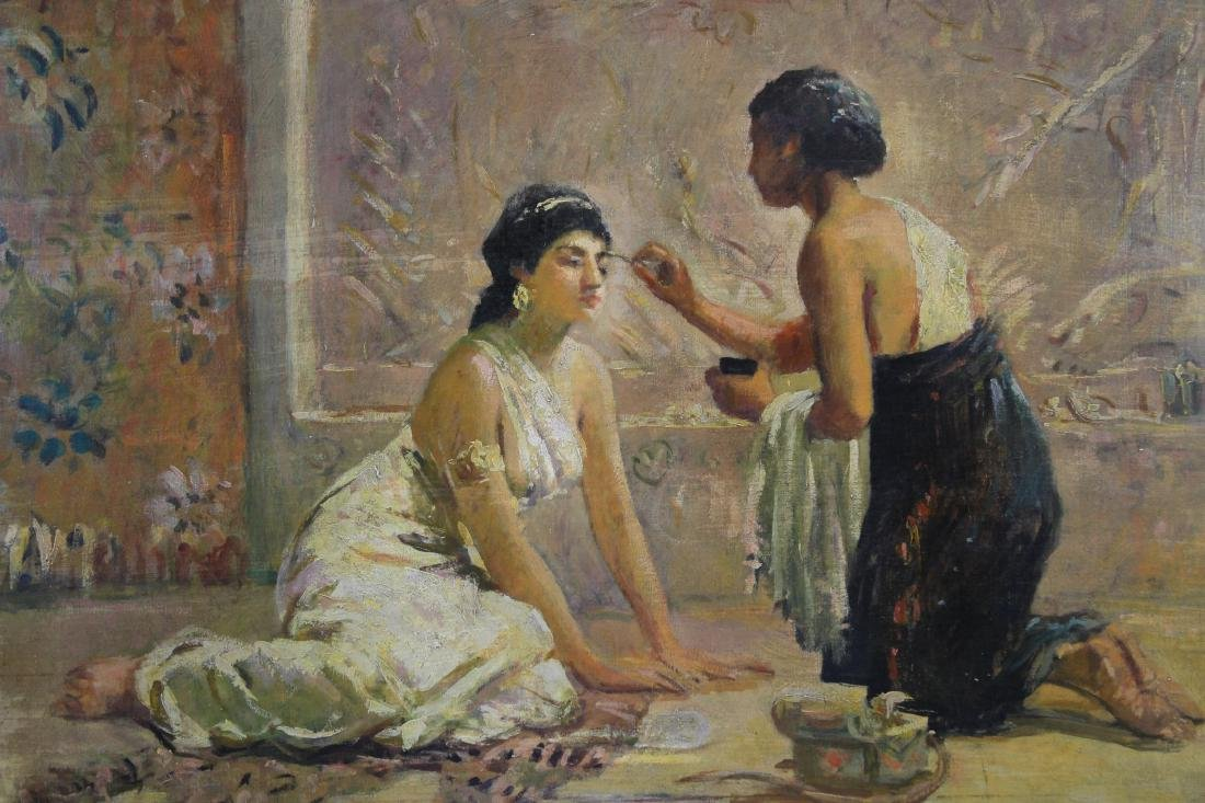 """Il Trucco"", Signed 19th C. Painting of Two Women - 2"