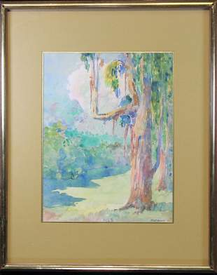 Monsell Watercolor of a Tree in a Landscape