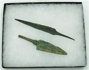 Pair Bronze Arrow Heads Luristan ca 800600 BC