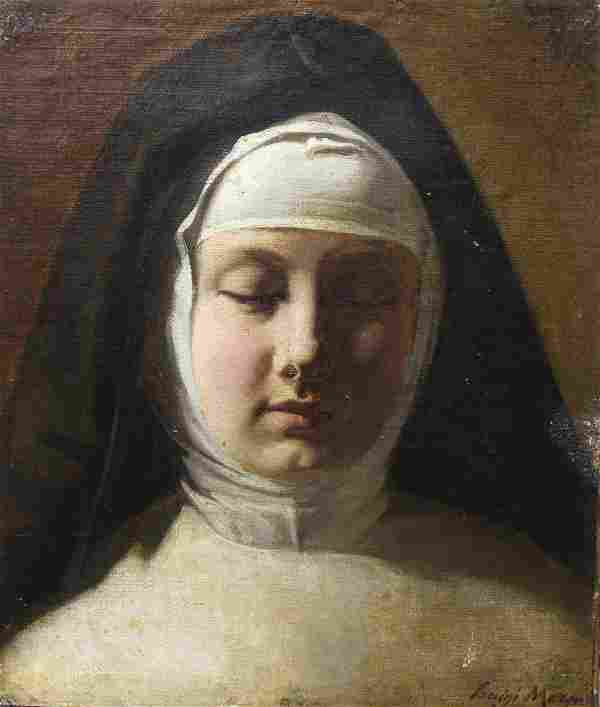 Signed, Antique Painting of a Nun
