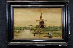 Dutch School, Antique Bucolic Landscape w Windmill