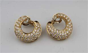 Fred Paris 18k Gold Diamond Earrings