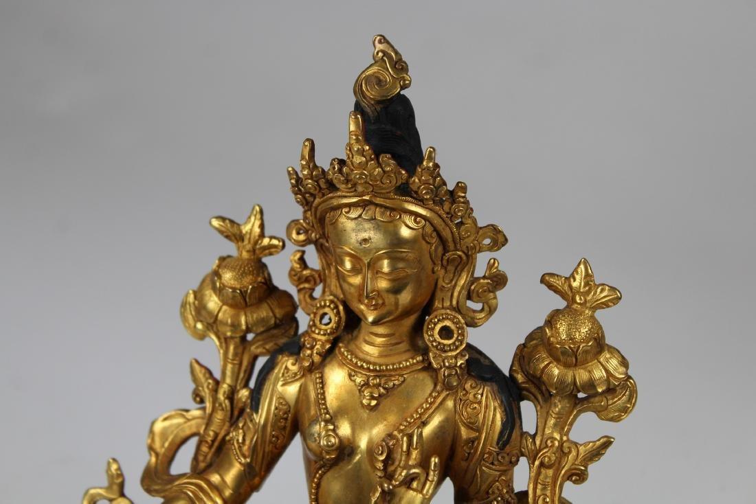 Tibetan Gilt Bronze Figure of White Tara, Qing - 3