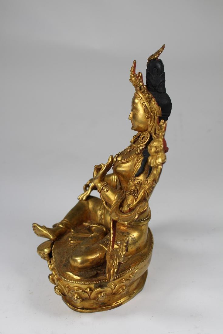 Tibetan Gilt Bronze Figure of White Tara, Qing - 4