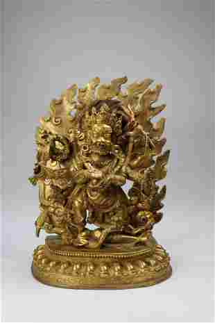 Exceptional Gilt Bronze Figure of Mahakala