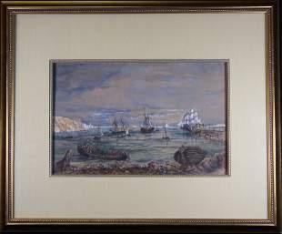 1874, Signed Harbor Scene Mixed Media