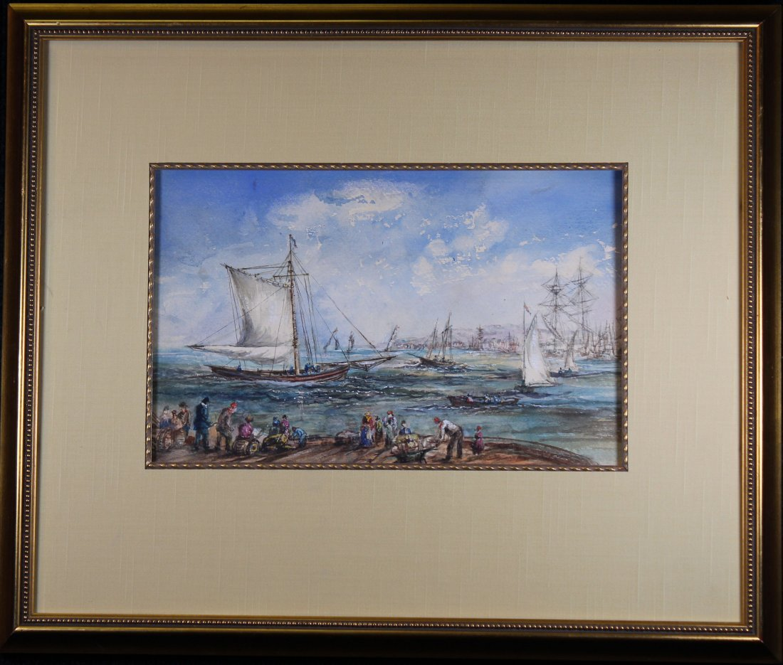 Signed Harbor Scene Mixed Media, Newman Gallery