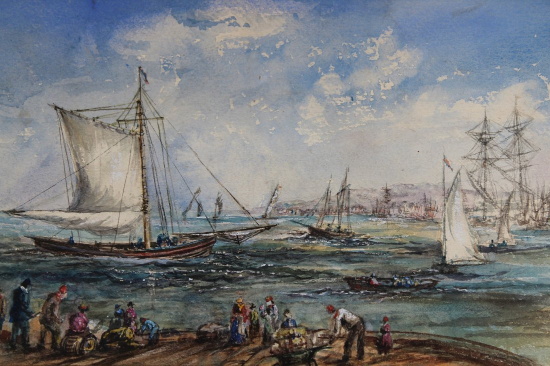 Signed Harbor Scene Mixed Media, Newman Gallery - 2