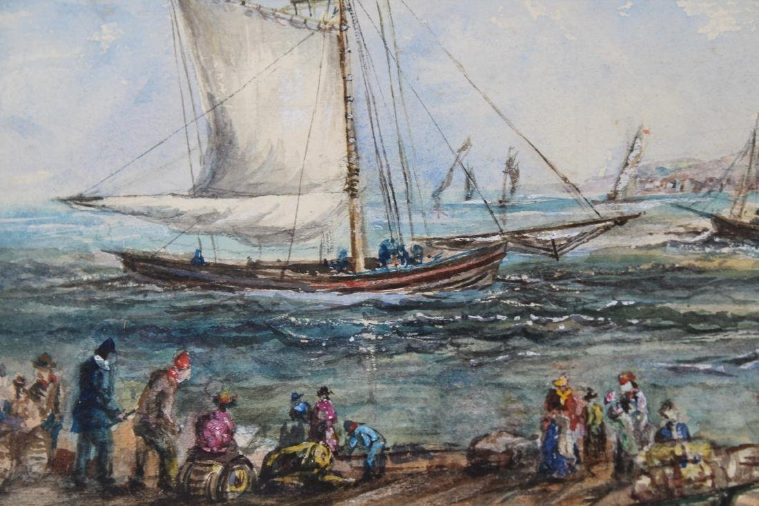 Signed Harbor Scene Mixed Media, Newman Gallery - 3