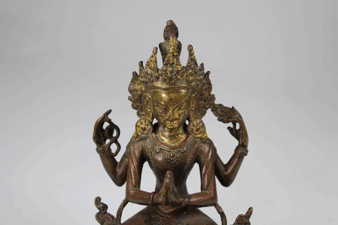 Ming, Tibetan Bronze Seated Avalokitesvara - 2