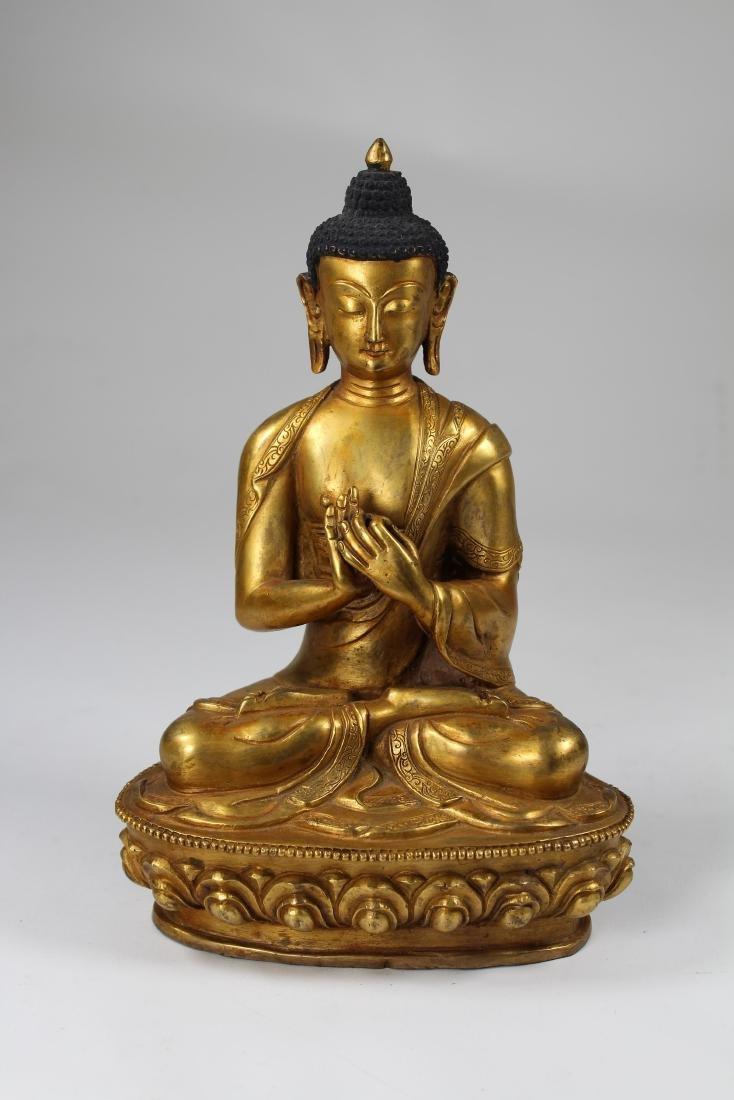 Sino-Tibetan Gilt Bronze Vairochana Buddha - 2