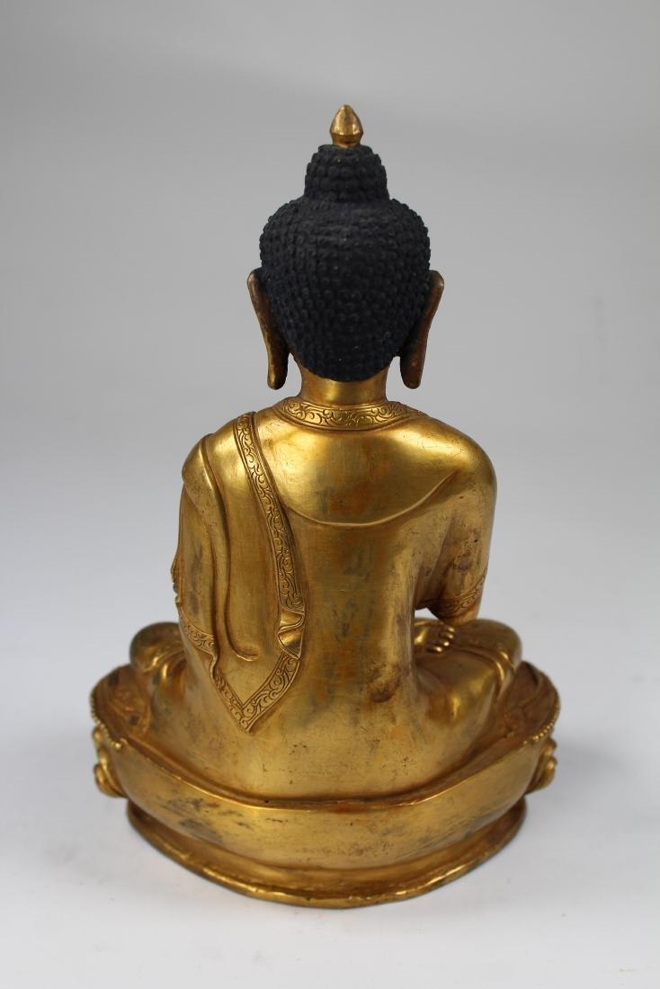 Sino-Tibetan Gilt Bronze Vairochana Buddha - 6