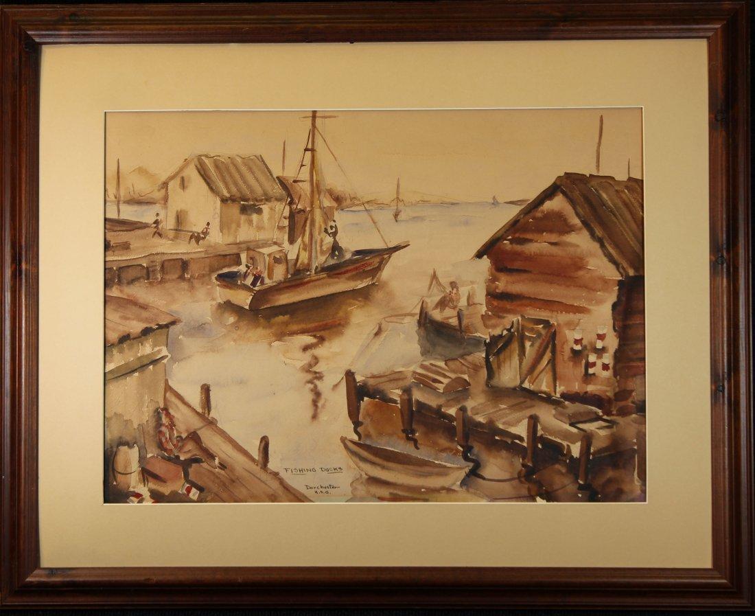 """Fishing Docks, Dorchester"" American School W/C"