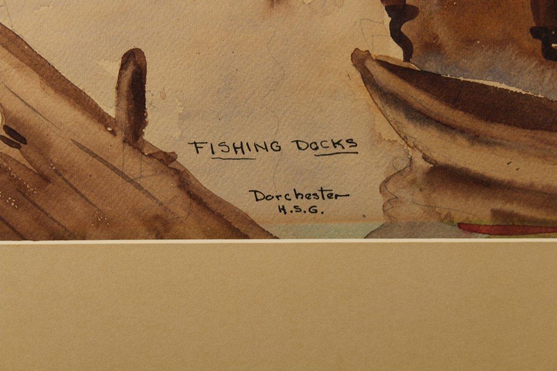 """Fishing Docks, Dorchester"" American School W/C - 3"