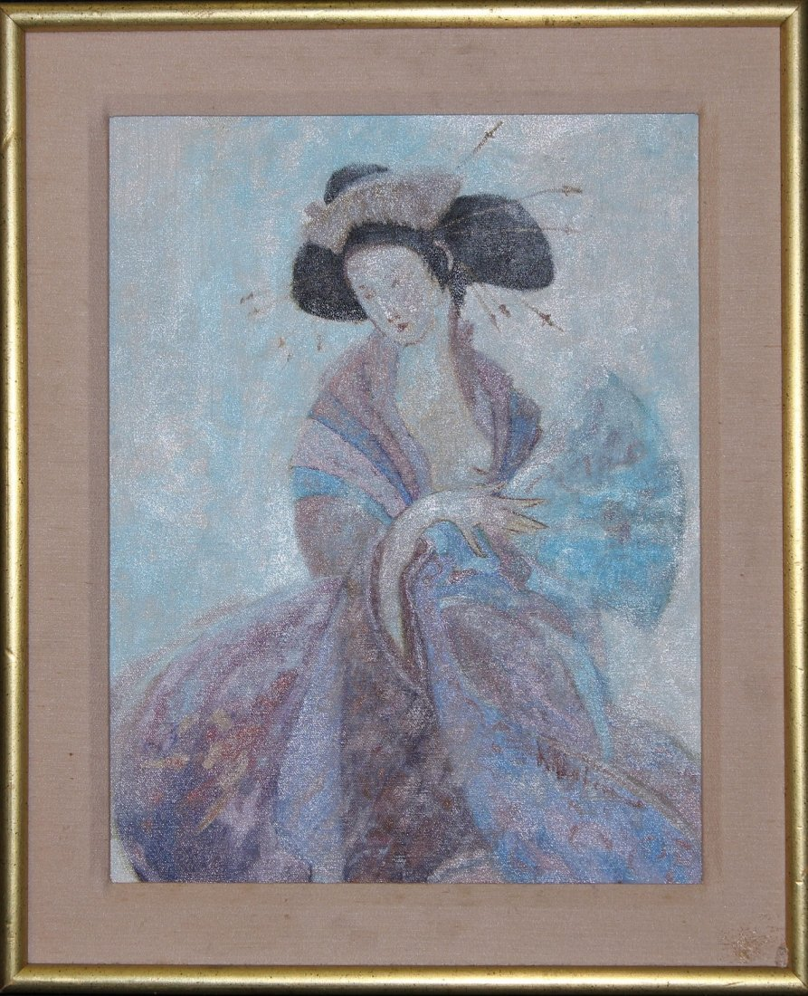 20th C. Oil on Canvas Painting of a Geisha, Signed