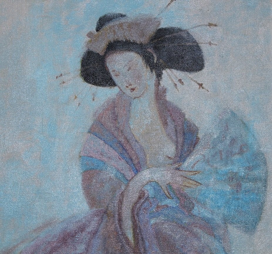 20th C. Oil on Canvas Painting of a Geisha, Signed - 2