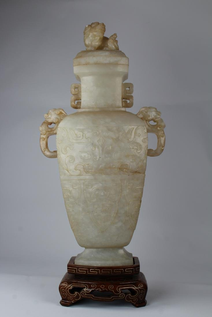 Chinese White Jade Covered Vase, Qing Dynasty - 3