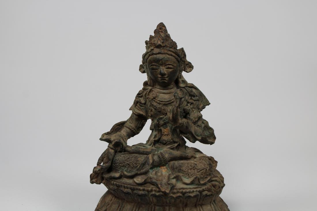 Early Antique Chinese Seated Buddha White Tara - 2