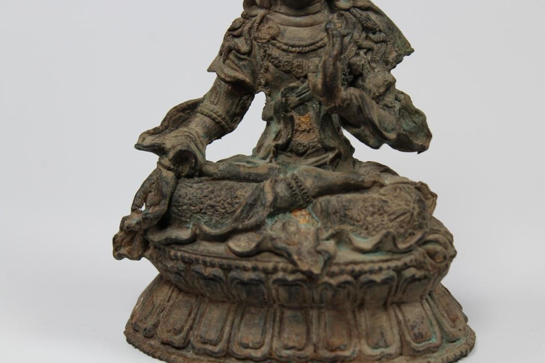 Early Antique Chinese Seated Buddha White Tara - 3
