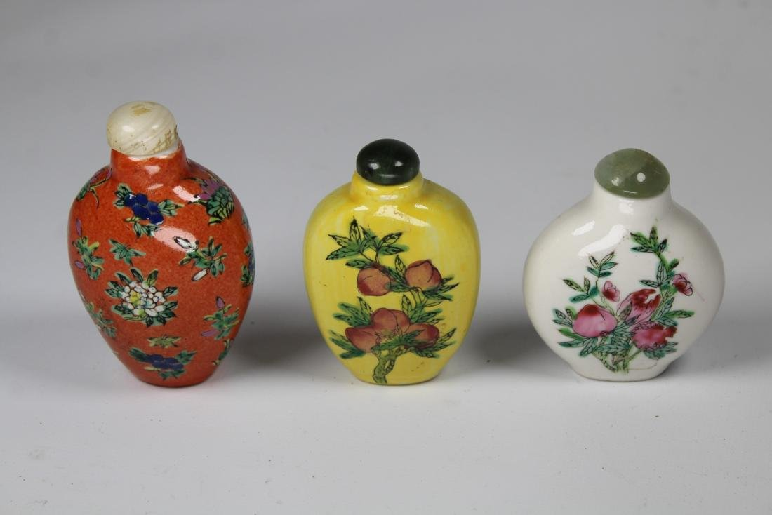 (3) Chinese Porcelain Snuff Bottles, Signed