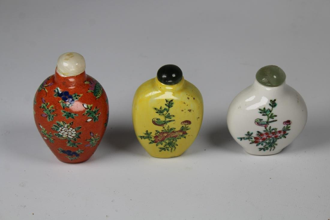 (3) Chinese Porcelain Snuff Bottles, Signed - 2