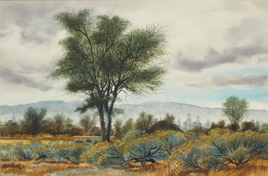 Signed, 20th C. Desert Scene Watercolor