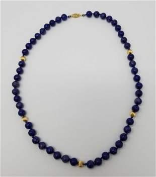 14K Gold Lapis Necklace