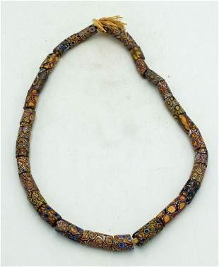 Strand of Millefiori Glass Beads ca 1800s
