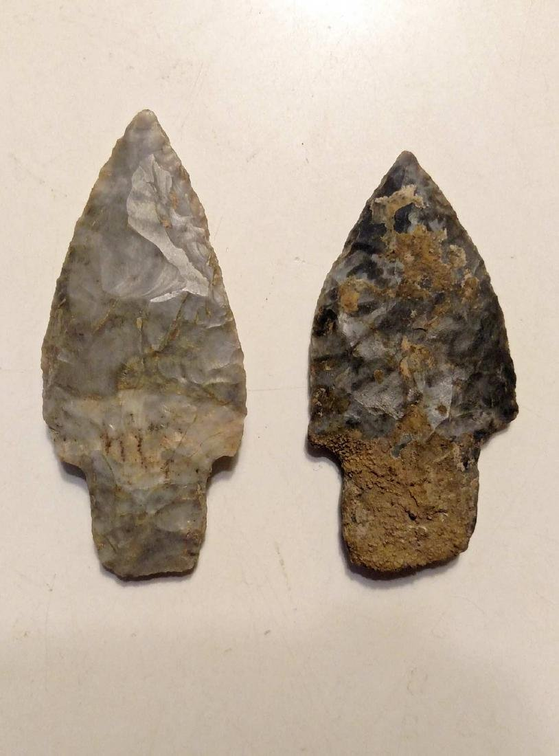 (2) Adena Culture Woodland Period Stemmed Points