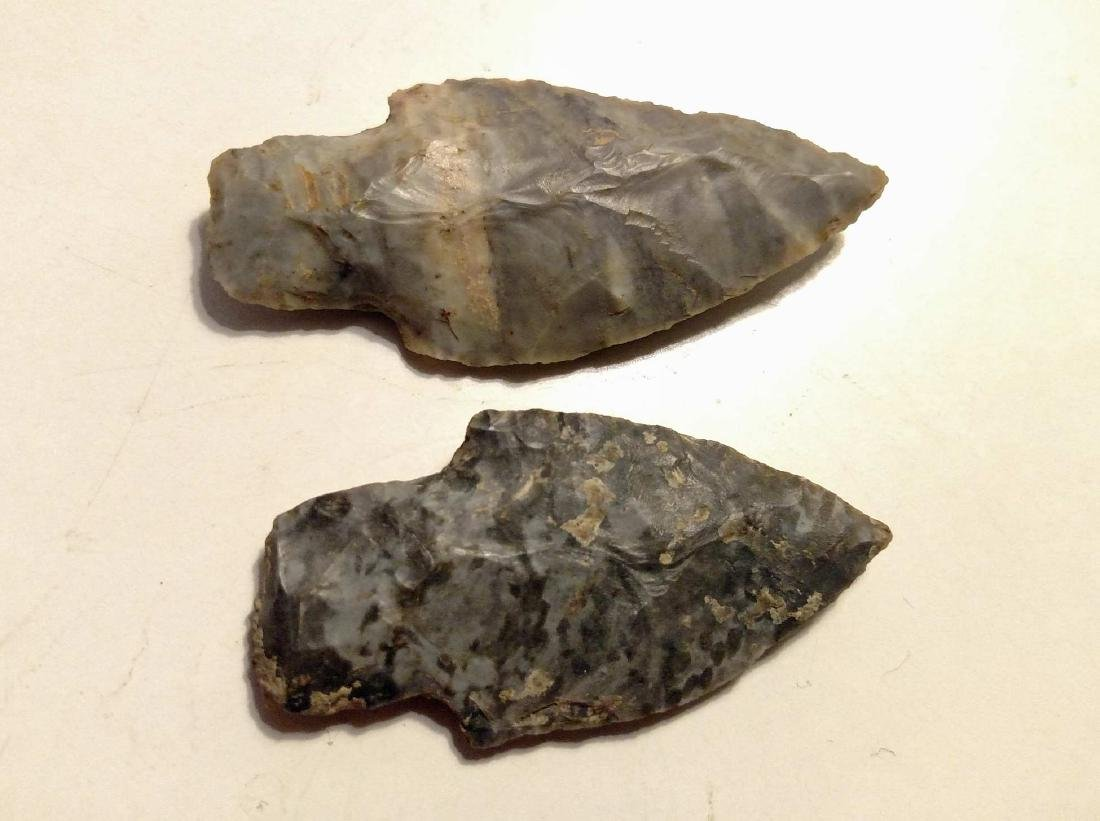 (2) Adena Culture Woodland Period Stemmed Points - 2