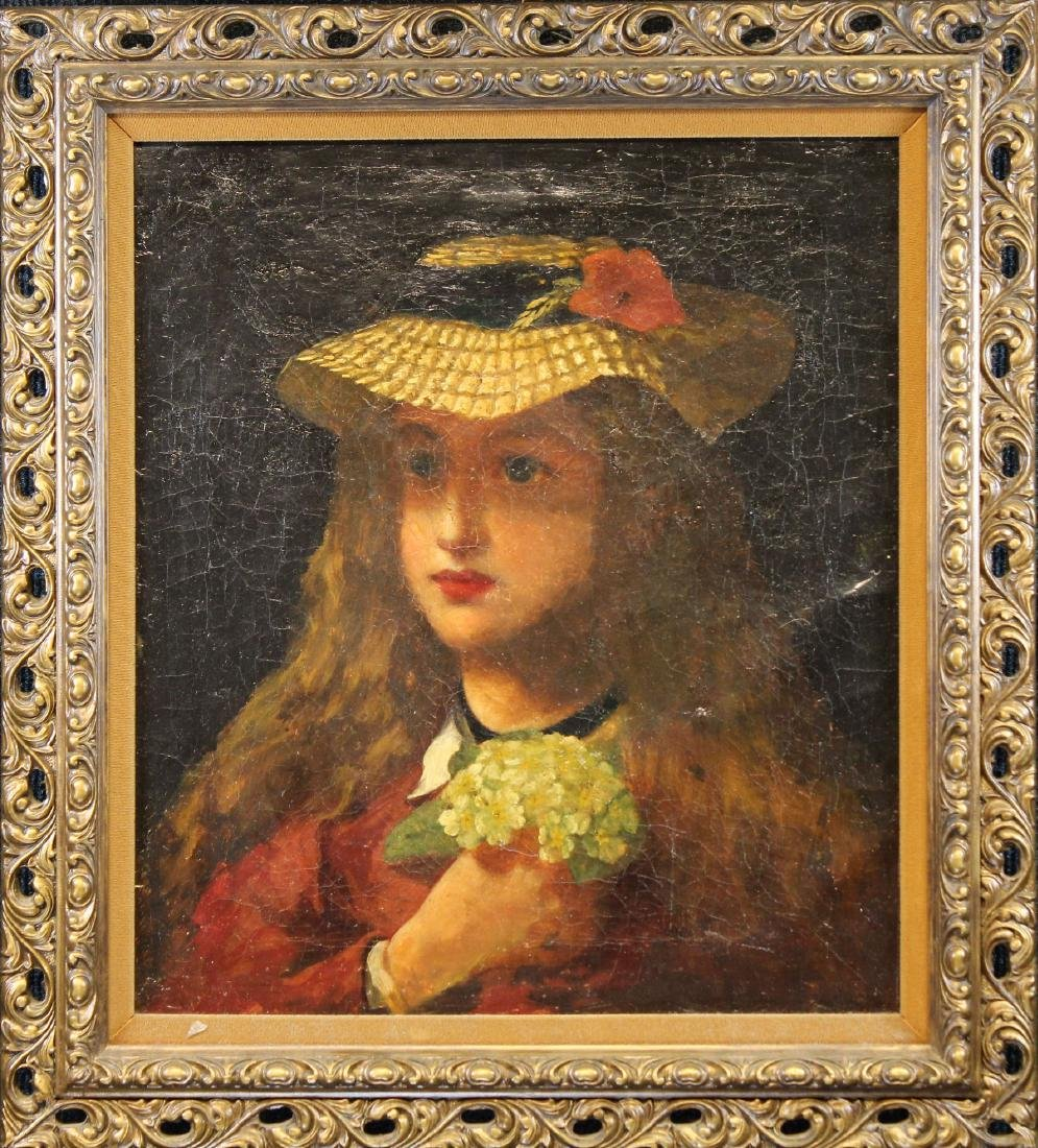 19th C. Portrait of Young Girl With Flowers