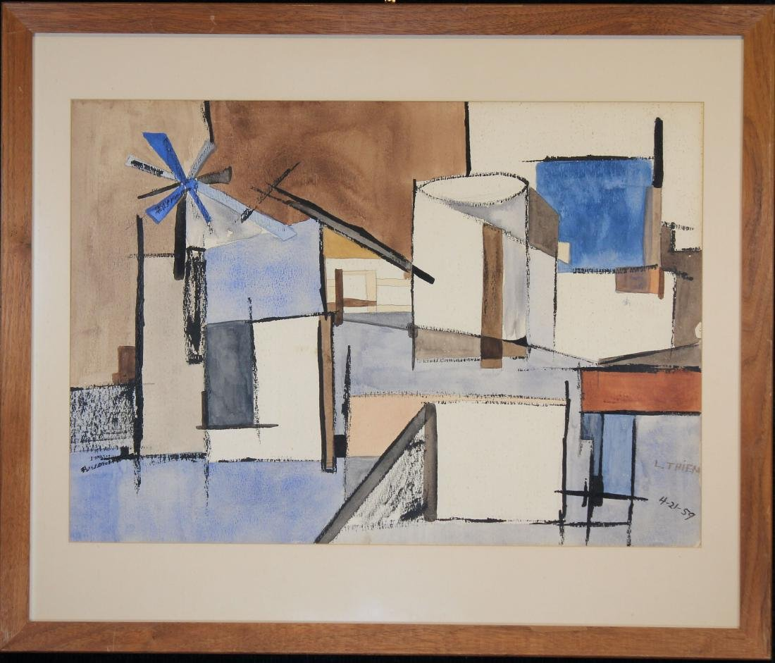 Thiem, Signed 1959 Abstract Mixed Media