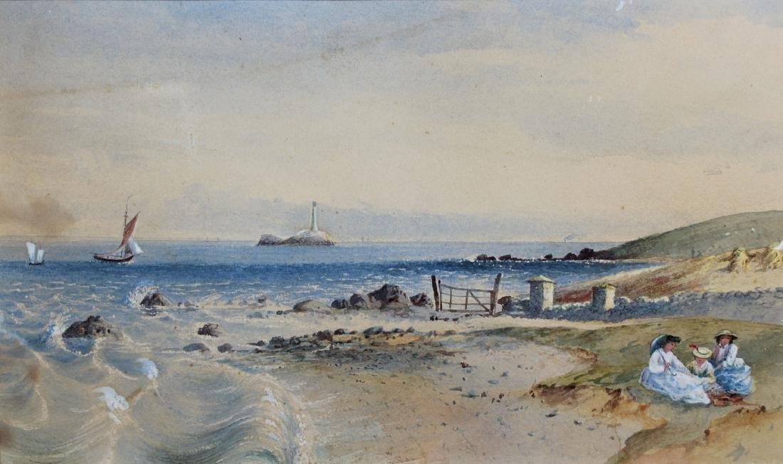 American School, Coastal New England Watercolor