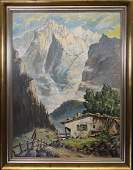 European School Signed Alpine Landscape
