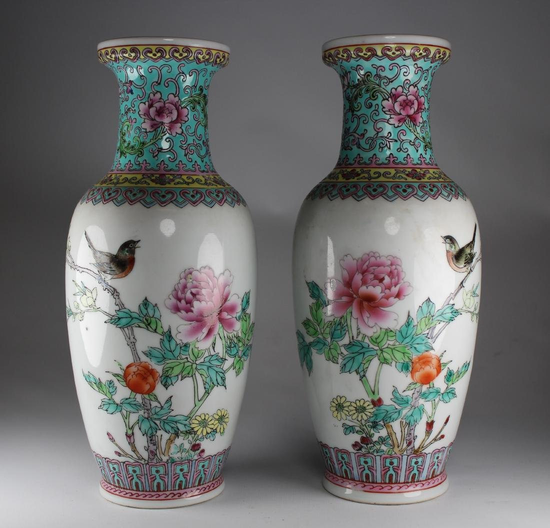 Chinese Export Porcelain Vases, Signed