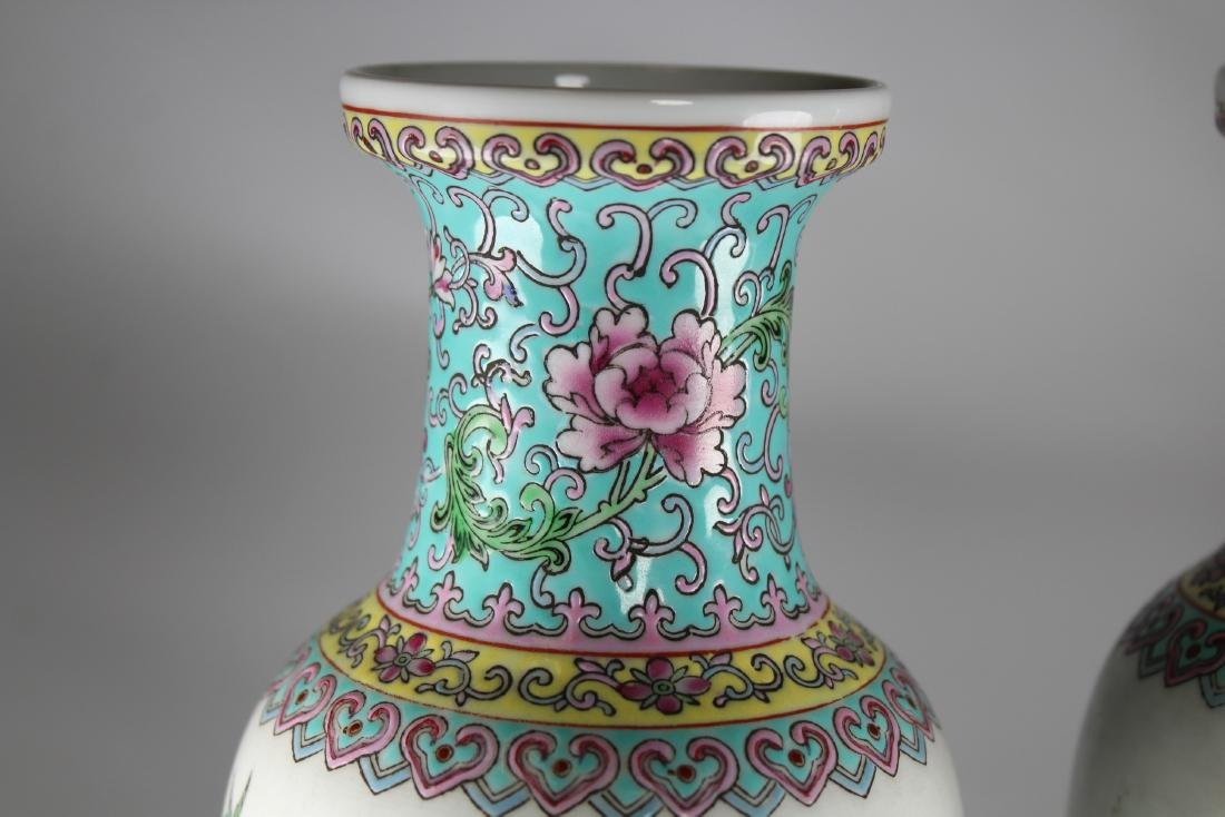 Chinese Export Porcelain Vases, Signed - 2