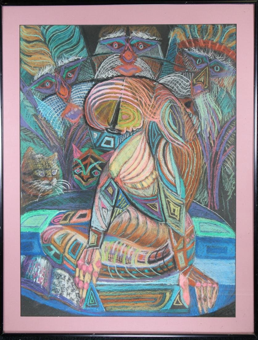 Tom Benson, 20th C. Figural Abstract Mixed Media