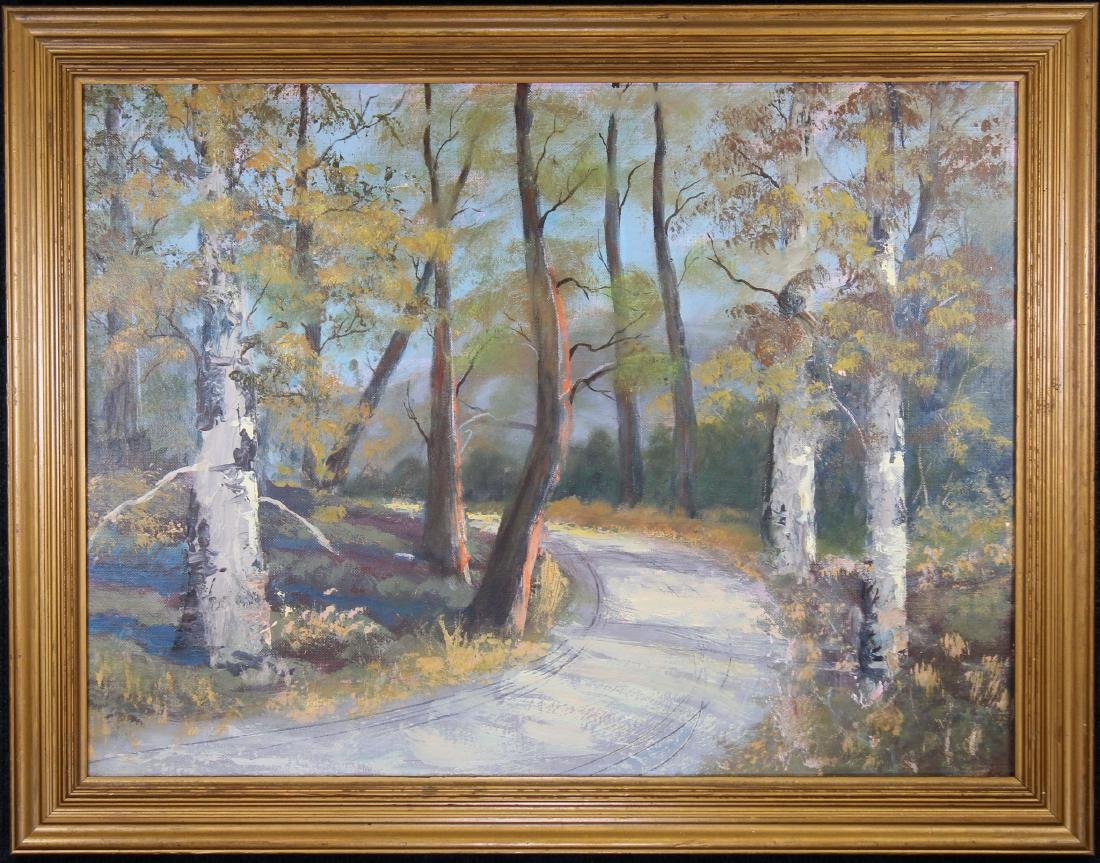 American School Painting of a Wooded Landscape