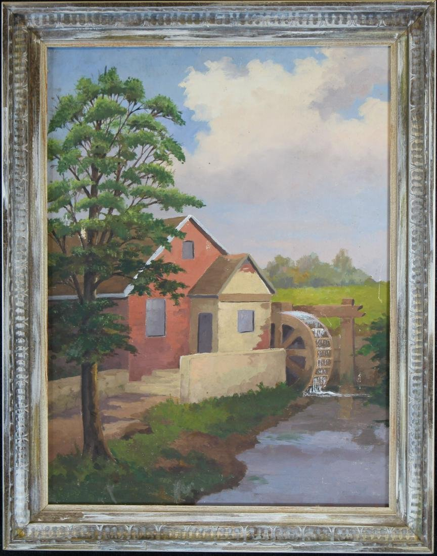 Signed, American School Painting of a Farmhouse